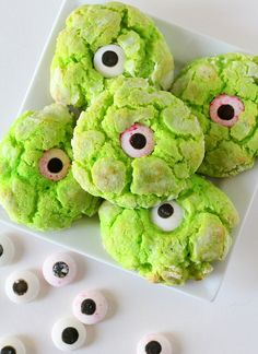 The gooey monster eye cookies are with delicious butter cookies laced with green food coloring and candy eyes. Creepy, but delicious!