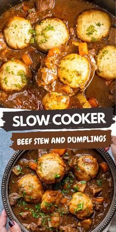 Slow Cooker Beef Stew and Dumplings – this hearty stew packed with vegetables and topped with fluffy dumplings is the perfect comfort food. This easy crockpot beef casserole requires no browning – simply sit back and let your slow cooker do all the work.