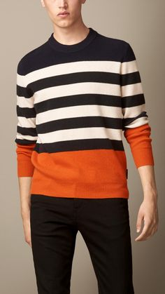 Pull color-block à rayures   Burberry