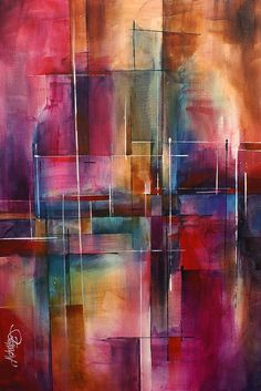horizontaal dan. kan ook met witte rand. Abstract Print featuring the painting ' City Limits ' by Michael Lang