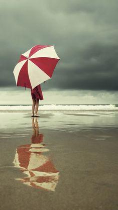 Girl on a Beach with umbrella #fun