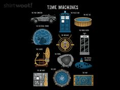 Time Machines Redux - any shirt that references Hot Tub Time Machine as a valid time travel option is pretty awesome! Time Machine Games, Time Travel Machine, Hot Tub Time Machine, Harry Potter, Police Box, Back To The Future, Classic Tv, Dr Who, Cool T Shirts