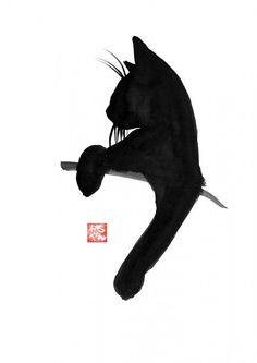 Katzen en SUMI-E - Art People Gallery - Zeichnungen menschen - Gatos I Love Cats, Crazy Cats, Cute Cats, Illustration Tattoo, Black Cat Illustration, Cat Illustrations, Illustration Inspiration, Black Cat Tattoos, Gatos Cats