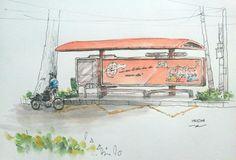 [19.10.2014] Bus stop - Pasteur st. HCMC #pen #watercolor