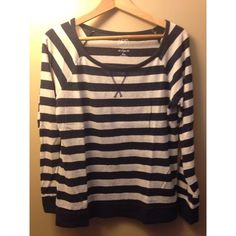 striped top navy and heather gray striped tee with raglan sleeves SO Tops Tees - Long Sleeve