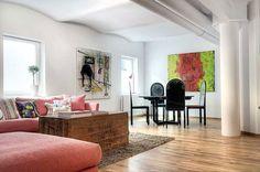 Swedish apartment - love the wall art
