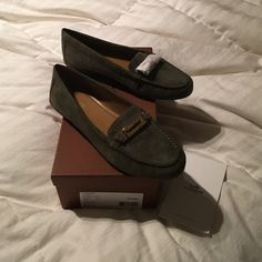 NWB, Coach Emerald Green Suede Loafers Brand new , never worn with box, hunter/ emerald green color with gold buckle Coach Shoes Flats & Loafers
