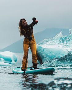 Have you ever paddled with a SUP between Icebergs 💎?💥 (Sidenote: wetsuit with snowpants work perfect for icy sup tours ❄️ 🥶) . Anzeige / Shot by Snowboard, Inflatable Sup Board, Sup Accessories, Sup Stand Up Paddle, Standup Paddle Board, Sup Surf, Surf Girls, Paddle Boarding, Outdoor Fun