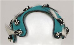 Bes-Ben 'Skunk' hat | Made in Chicago, United States | Skunks are applied to a teal wool felt bandeau with black bead trim