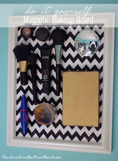 DIY Magnetic Makeup Board, the perfect way to organize your stuff in a small bathroom.  Full tutorial on HandmadeintheHeartland.com