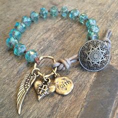 Wing, Heart &  Prayer Turquoise Knotted Leather Wrap Bracelet $35.00
