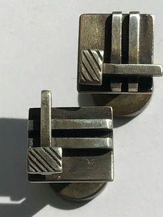 Peter Macchiarini Modernist Cufflinks Signed MCM Modernist Designer Calif 1940s Vintage Cufflinks, 1940s, Ebay, Accessories, Jewelry, Design, Jewlery, Jewerly, Schmuck