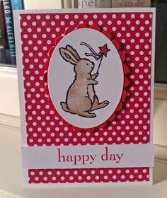 Stampin' Up card Bunny is digital printed via MDS  Stampin' up set: Happy day, digital Storybook Friends DSP Polka dot parade.