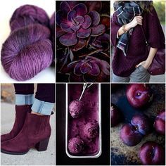 Mood Board Monday :: Plum Plum seems to magically look good with everything. It's like the best neutral purple - that's a thing right? #tanisfiberarts #plum #moodboardmonday #knittersofinstagram