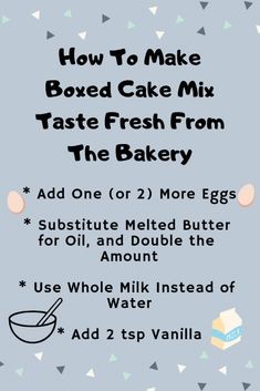 How to make boxed cake mix taste fresh from the bakery Make Cake Mix Taste Homemade, Homemade Cakes, Pina Colada, The Cake Mix Doctor, Cake Hacks, Cake Mix Recipes, Bread Recipes, Cooking Recipes, Box Cake Mix
