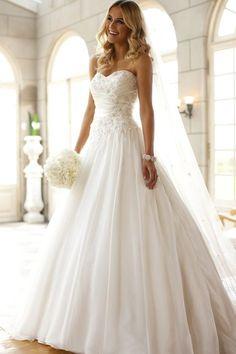 Prinzessin Herz-Ausschnitt Organza Satin Hof-Schleppe elegantes Brautkleid