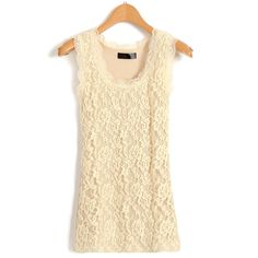 Beige Tank With Floral Lace Front And Ribbed Back ($20) ❤ liked on Polyvore