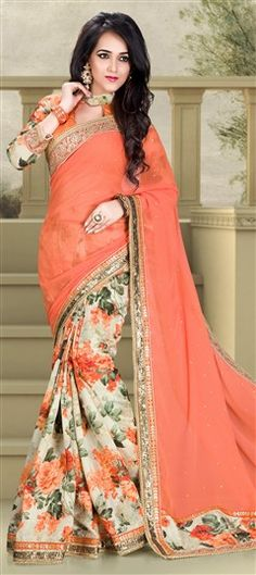 181669 Beige and Brown, Orange  color family Party Wear Sarees, Printed Sarees in Jacquard, Pashmina fabric with Floral, Lace, Printed, Sequence, Stone work   with matching unstitched blouse.