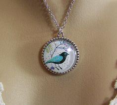 Bird Necklace Glass Cabochon Necklace Tree of by CreatedinTheWoods