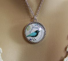 Bird Necklace Glass Cabochon Necklace Tree of by CreatedinTheWoods