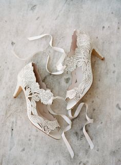 Lace floral wedding shoes | Photography: Koby Brown