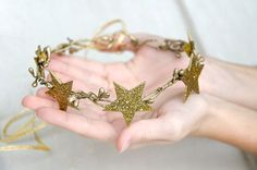Gold stars crown Stars and berries by IvaCreationsBoutique on Etsy