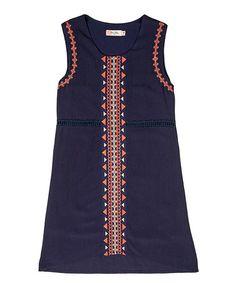 Look what I found on #zulily! Navy Geo-Trim A-Line Dress #zulilyfinds