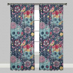 Woodland Design Skull Curtains & Sheers - Lined Curtains, Unlined Curtains and Sheers - Sugar Skull Curtains