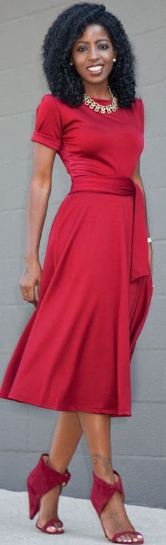 Red Cutout Heels Red Fit And Flare Midi Dress Fall Inspo                                                                             Source