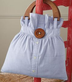 Use a dress shirt long after you've stopped wearing it :) We love this #upcycled button up shirt into a cute bag! #diy