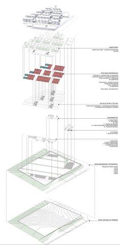 5° Lugar no concurso para Moradia Estudantil da Unifesp Osasco,Esquema de implantação. Image Cortesia de Bacco Arquitetos Associados