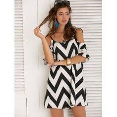 #trendsgal.com - #Trendsgal Spaghetti Strap Zig Zag Chiffon Dress - AdoreWe.com