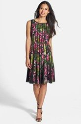 Adrianna Papell Spliced Floral Print Fit & Flare Dress (Regular & Petite)