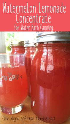 Sweet and tangy Watermelon Lemonade Concentrate for water bath canning from One Acre Vintage Homestead #waterbathcanning #watermelonlemonade
