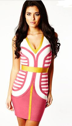 Herve Leger Sleeveless Malina Colorblock Bandage Dress