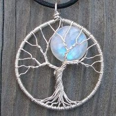 Moon Tree Sterling Silver and Moonstone Pendant by ethora jewelry