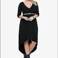 Hi Low Faux Wrap Black Dress