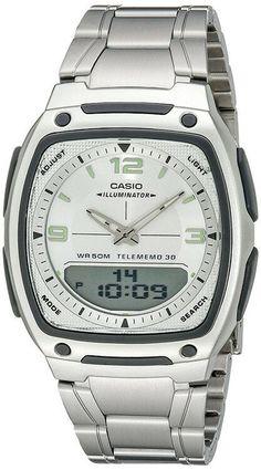Casio Mens Ana-Digi Databank Battery Stainless Steel Watch - Casio Watch - Ideas of Casio Watch Casual Watches, Cool Watches, Watches For Men, Wrist Watches, Casio Watch Price, Casio Gold, Ring For Boyfriend, Casio Digital, Digital Watch
