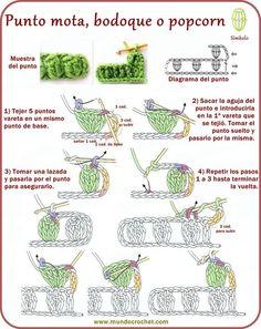 Punto mota, bodoque, popcorn, garbanzo, madroño - Ponto pipoca - Popcorn stitch - вязание крючком пунктов: