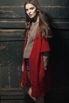 Ruana Samira - crochet poncho wool mohair red Handmade knitwear boho folk gypsy