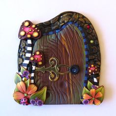 Toadstool Garden Fairy Door Pixie Portal  Miniature by Claybykim