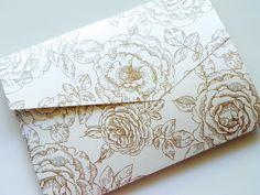 Pocketfold Wedding Invitations - Vintage Rose Premium Pattern Pocketfold Invitation Suite. $178.75, via Etsy.