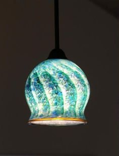 Hand Blown Glass Pendant Light In Emerald Spiral