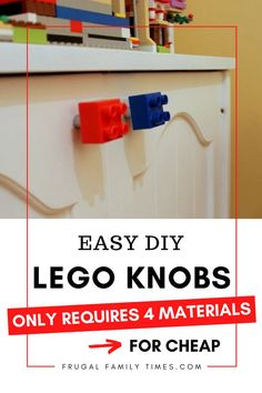 Make 4 door LEGO pulls in 1/2 hour for less than $3! Cute! Easy! Cheap! A super simple how-to: Lego Cabinet Knobs. A great way to add some lego fun to decorate a kids bedroom or playroom. Your Lego fan will thank you! Diy Home Projects Easy, Diy Furniture Projects, Easy Diy Crafts, Creative Crafts, Furniture Makeover, Kids Crafts, Kids Decor, Diy Home Decor, Frugal Family