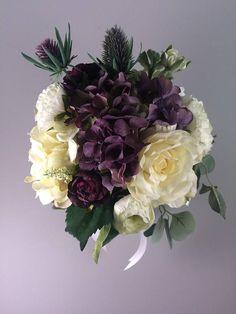 Purple artificial bouquet, Purple wedding bouquet, Purple bridal bouquet, Purple silk bouquet, Plum wedding bouquet, Plum bridal bouquet Purple Wedding Bouquets, Plum Wedding, Party Central, Wedding Cake Inspiration, Here Comes The Bride, Wedding Cakes, Floral Wreath, Romantic, Bridal