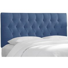 Alcott Hill Yother Upholstered Panel Headboard Upholstery: Off White, Size: Queen Studded Headboard, White Headboard, King Headboard, Panel Headboard, Skyline, Headboards For Beds, Look Chic, White Walls, Bed Pillows