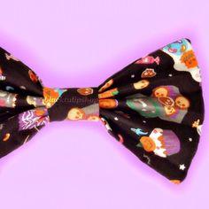 HALLOWEEN Kawaii Candy Black Hair Bow Skull Ghost Coffin Pumkins Japanese Fabric Barrette Clip