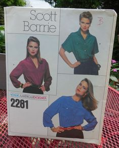 Vogue 2281  Vogue American Designer Scott Barrie  Blouses in