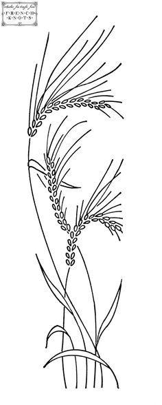 """Lindo desenho para uma toalha em """"organdi"""" e bordada a Ponto de Sombra. - another wheat embroidery transfer pattern"""