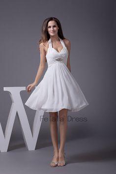 Chiffon bridesmaid dress  short party dress / white by FelalaDress, $89.00